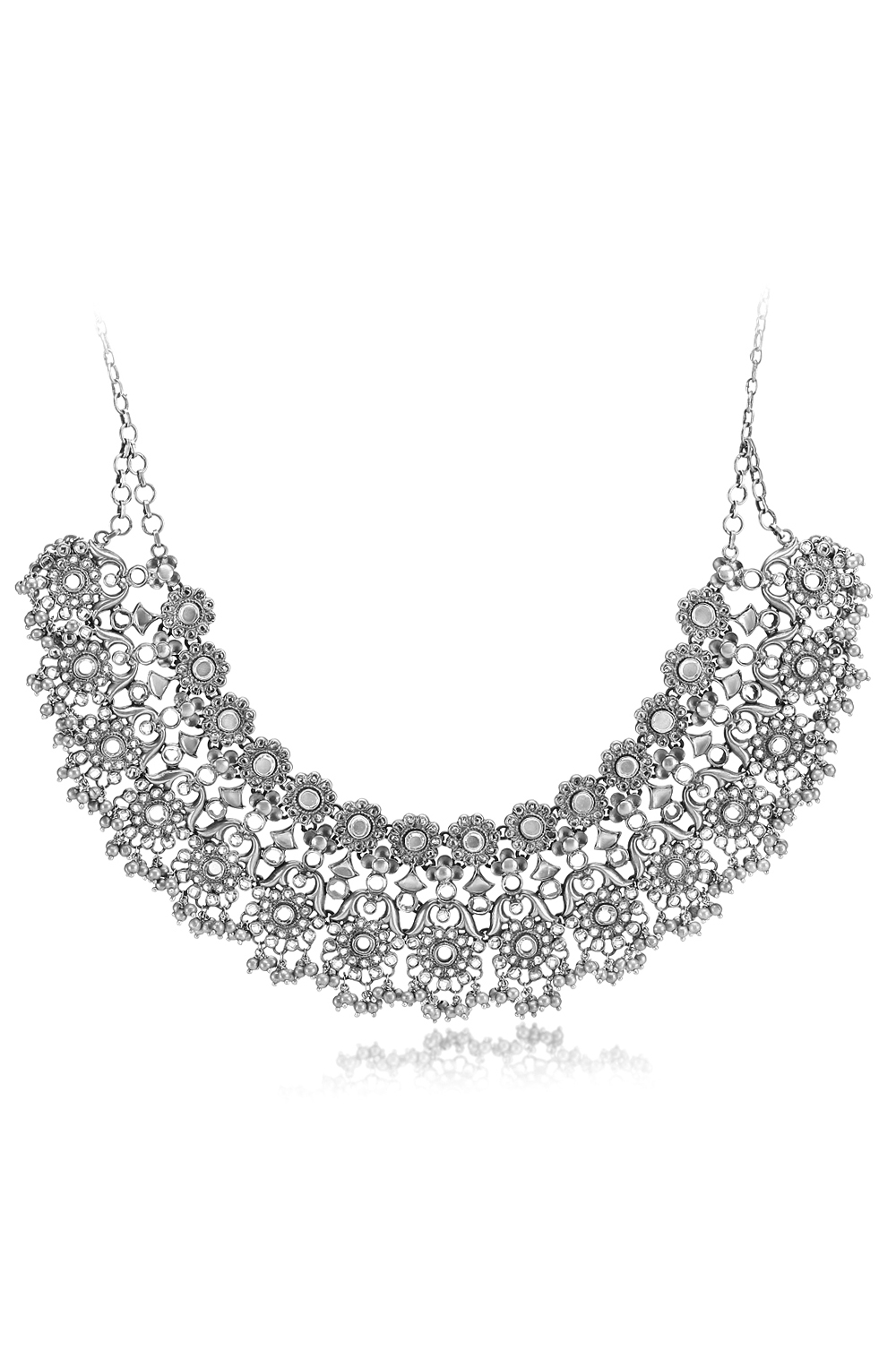 Silver Floral Shimmering Collar Necklace