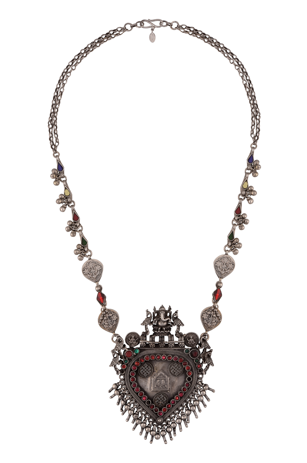 Silver Peacock Glass Charms Drop Ganesha Necklace