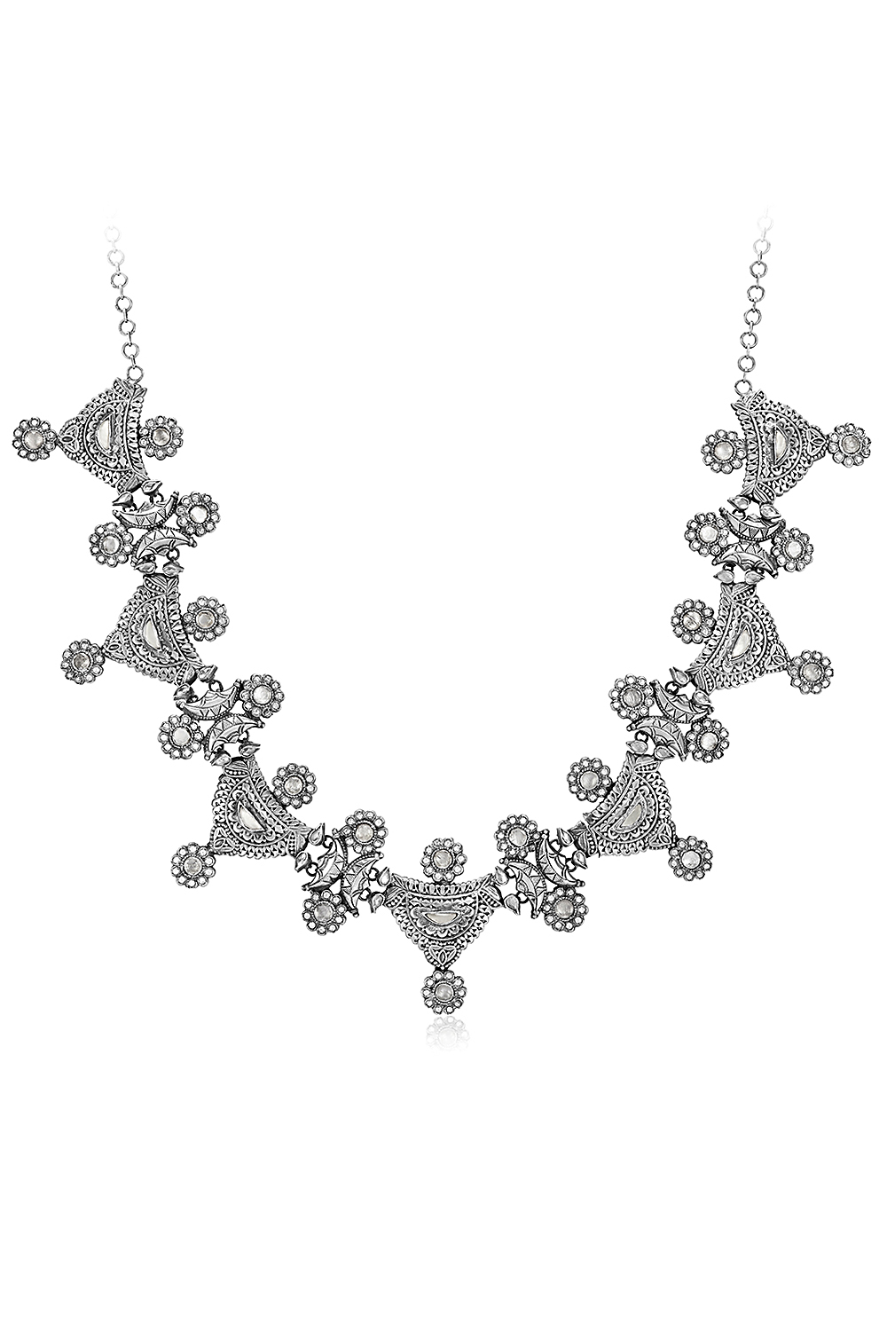 Silver Floral Glass Multimotif Choker