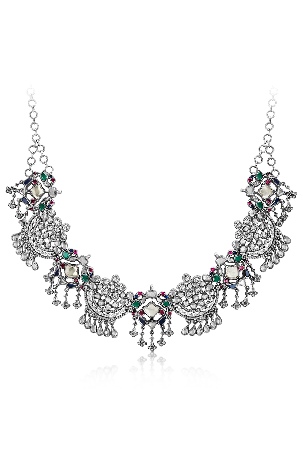 Silver Colored Peacock Floral Crystal Necklace