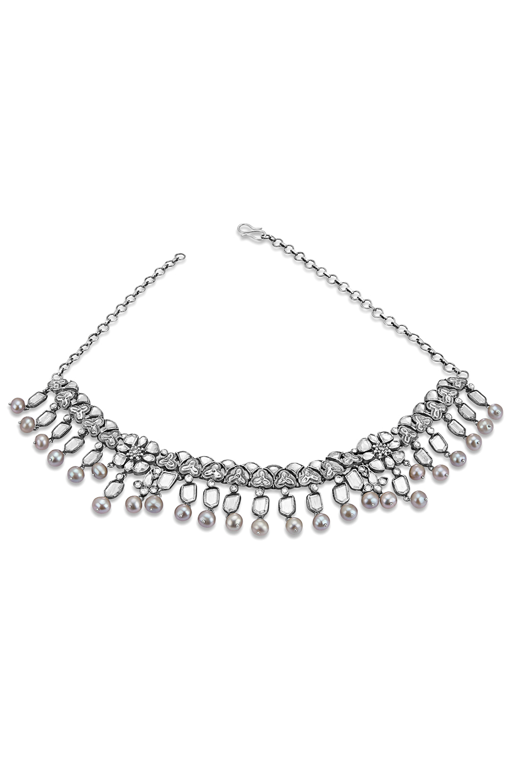 Silver Floral Glass Pearl Drop Choker
