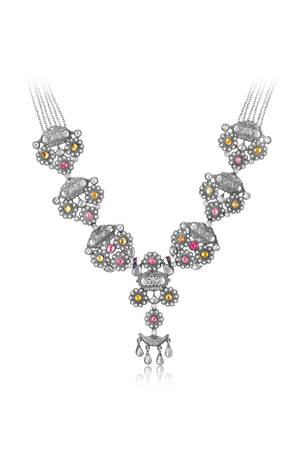 Silver Colored Floral Traditional Motif Necklace