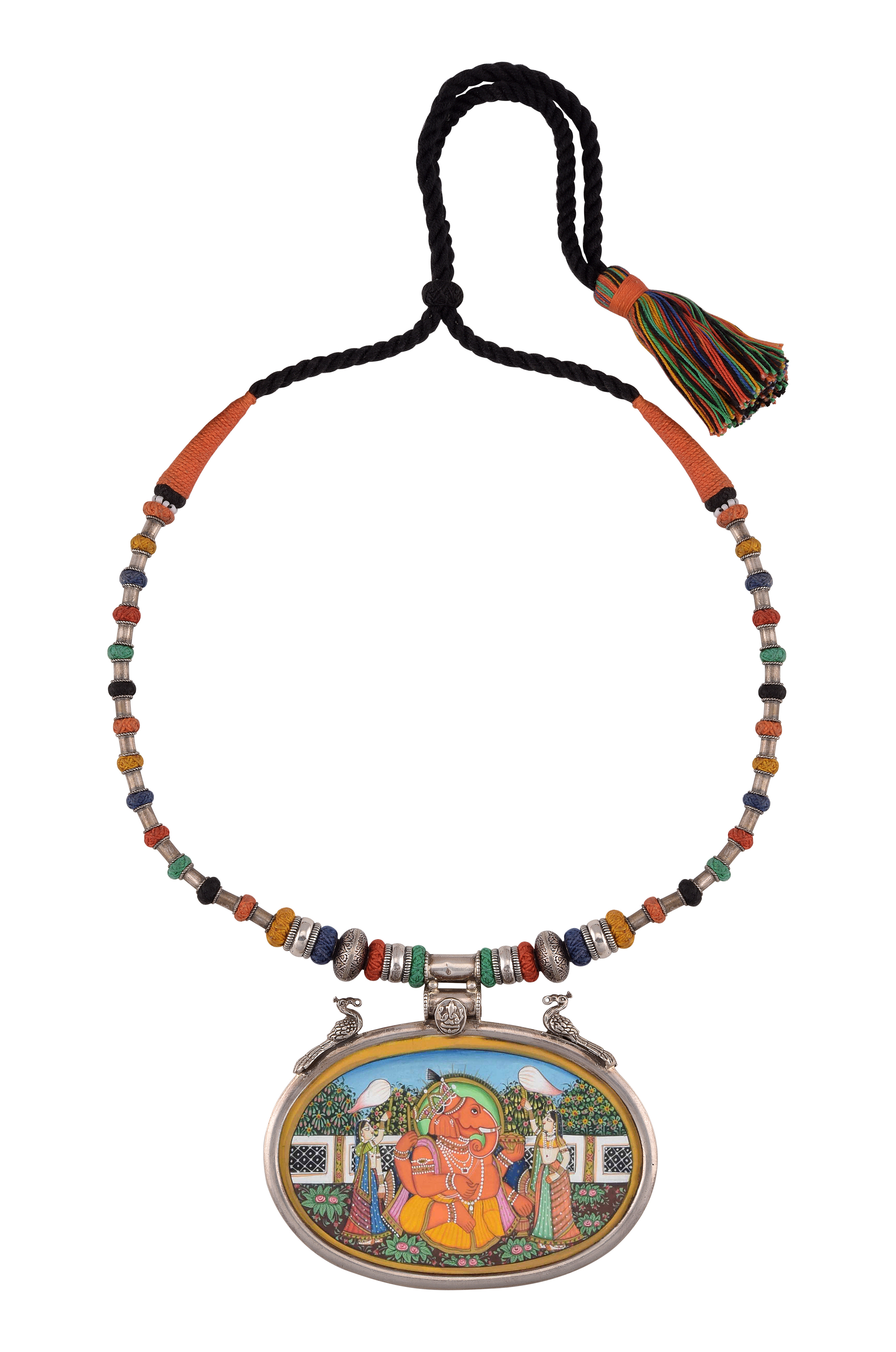 Silver Vinayaka Multi Colored Thread Necklace