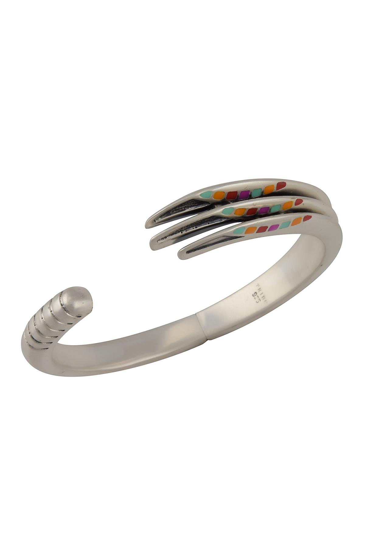 Silver Enamel Detailed cuff