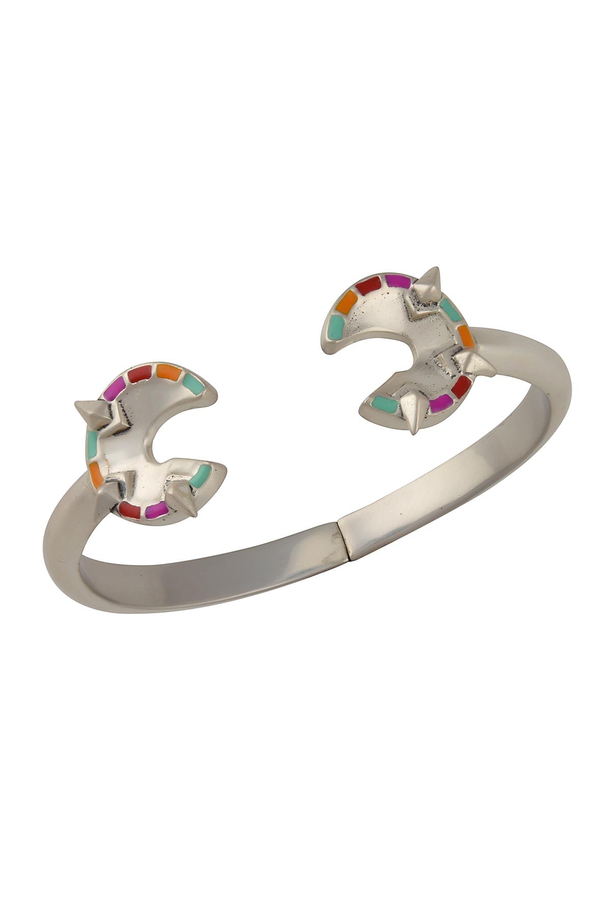 Silver Spike Enamel Dual Embellishment Cuff