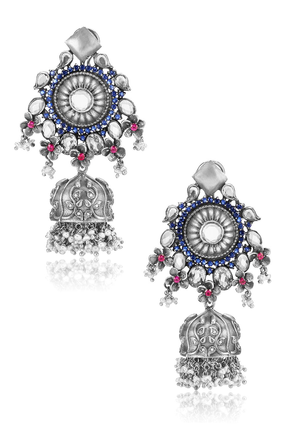Silver Floral Pink Blue Crystal Pearl Drop Jhumki Earrings