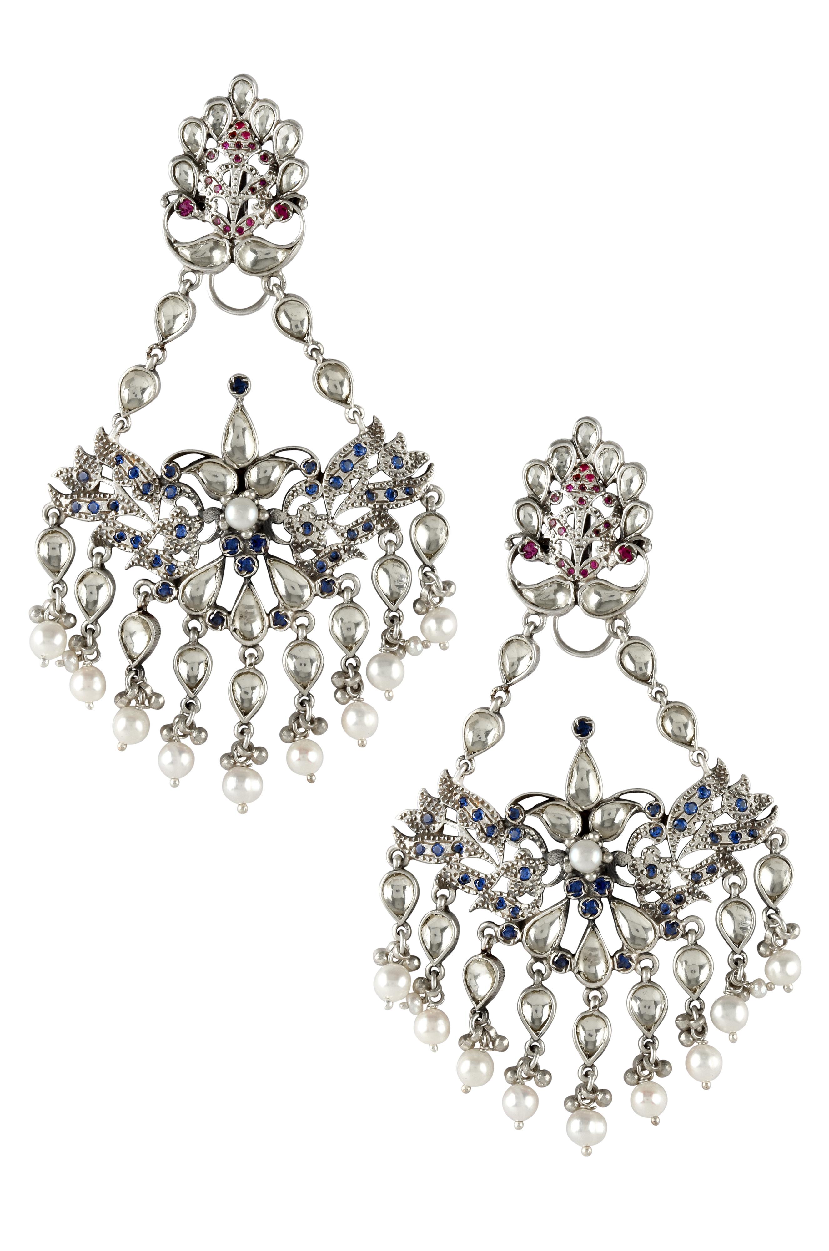 Silver Oxidised Mayura Pearl Drops Earrings