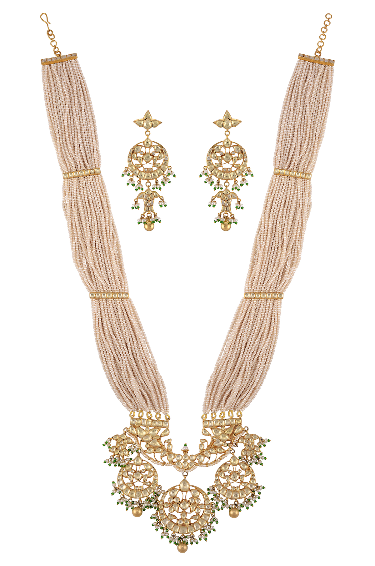 Silver Gold Plated Multi Strand Pearl Floral Fish Necklace Earrings Set