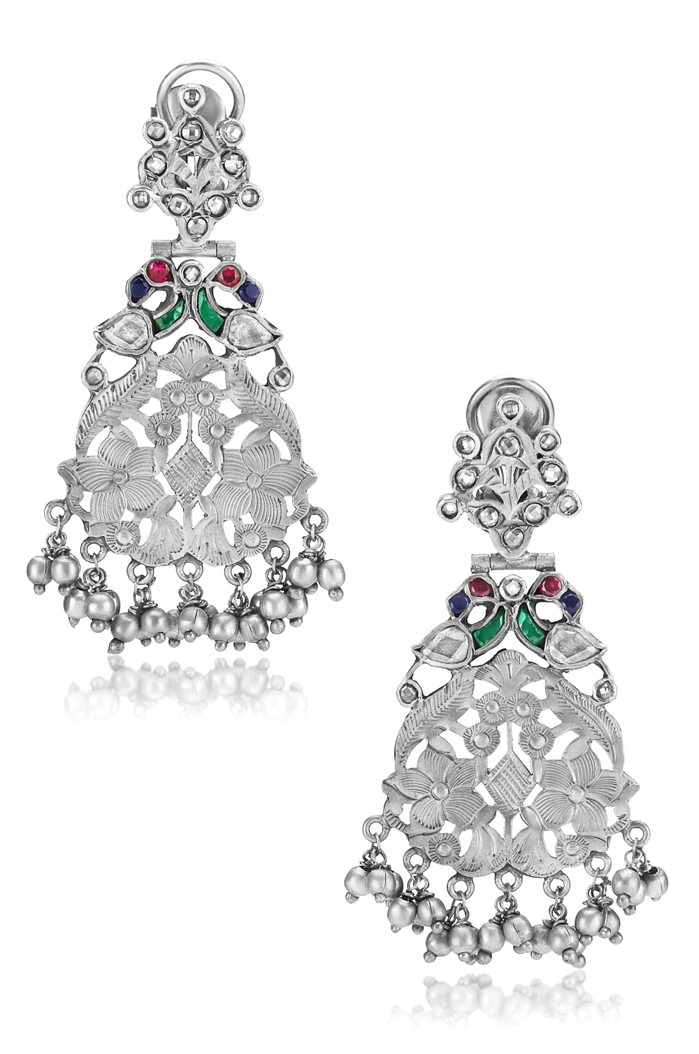 Silver Peacock Floral Ball Drop Earrings
