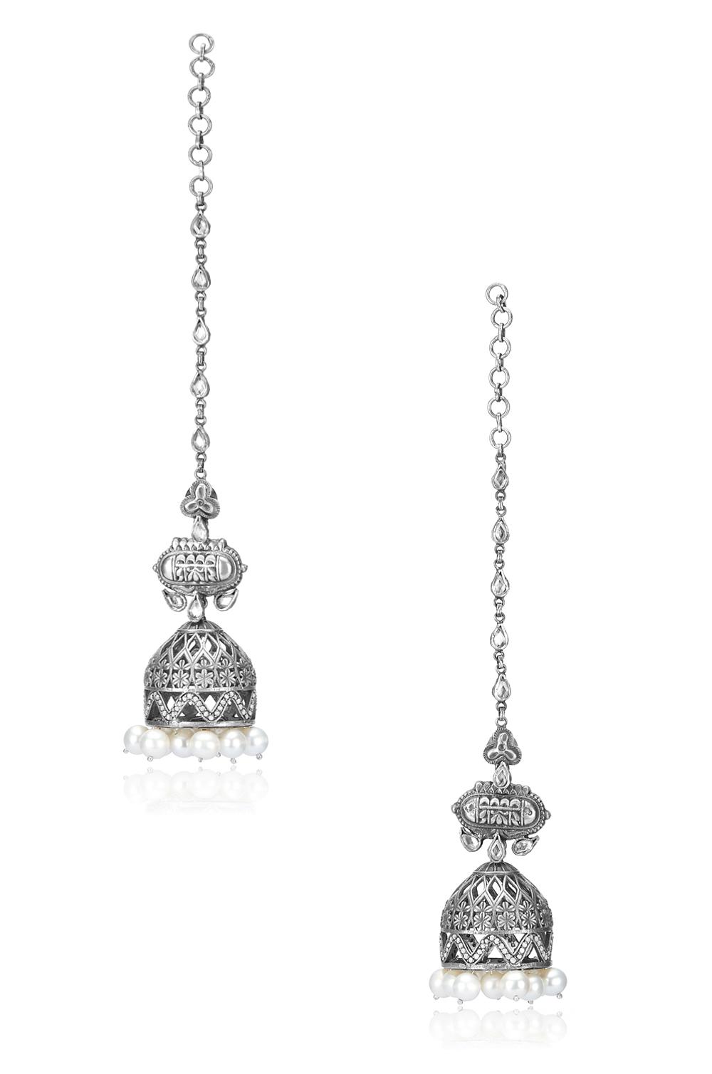 Silver Floral Mughal Style Pearl Drop Jhumka Earrings