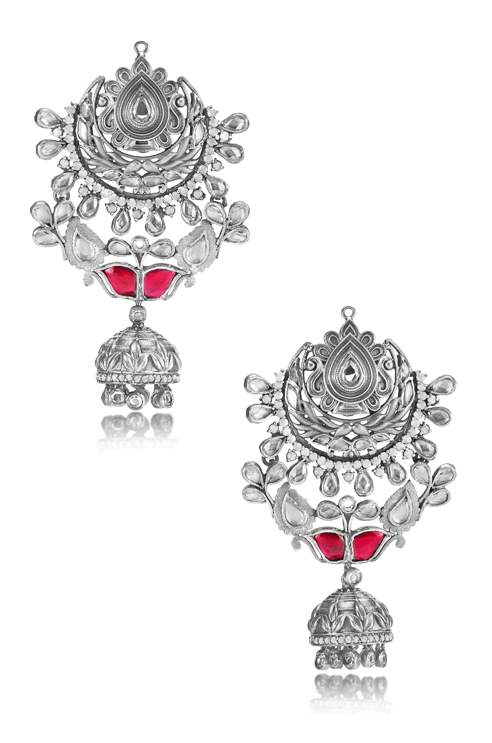 Silver Pink White Glass Floral Jhumki Moon Earrings