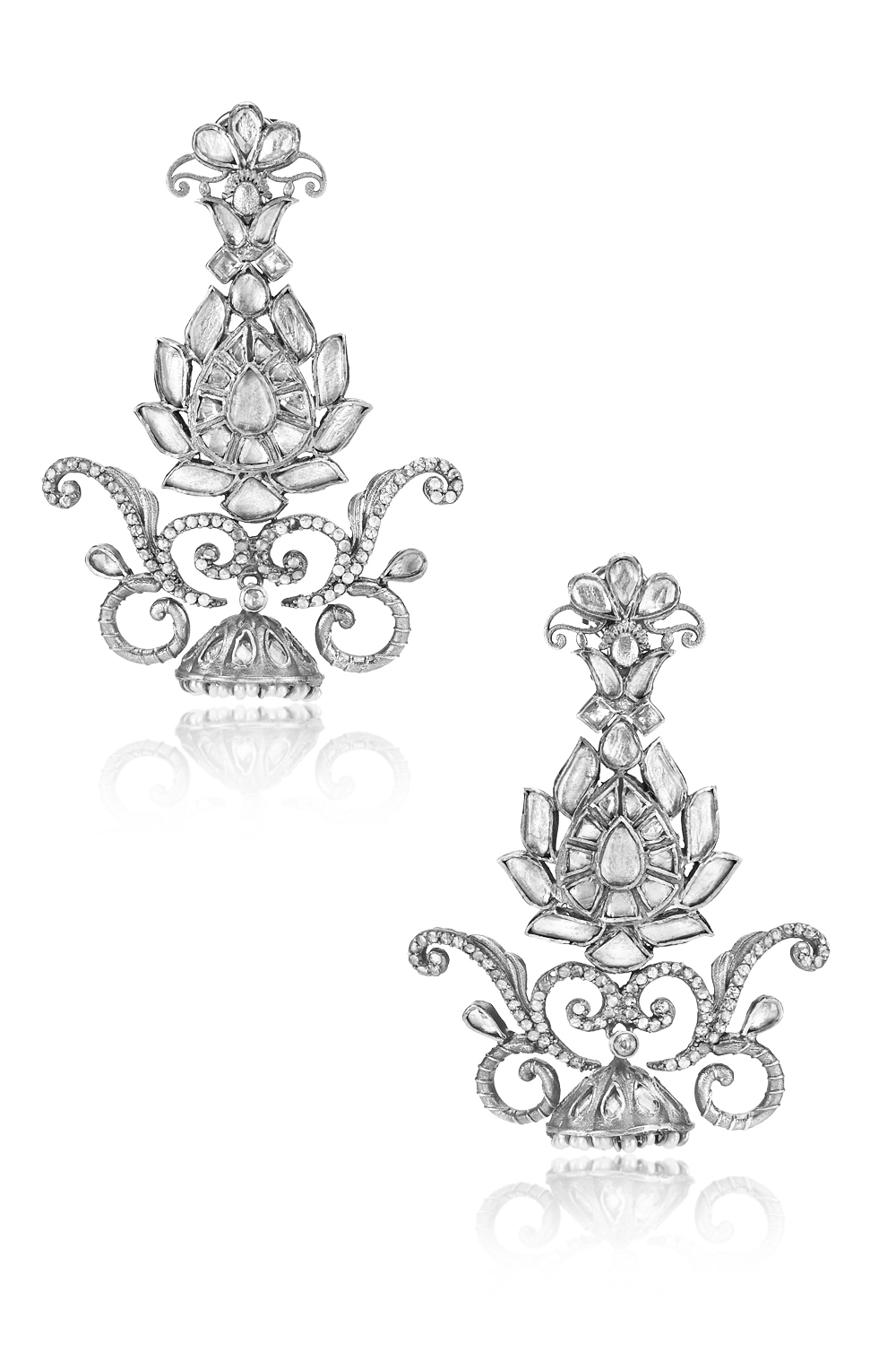 Silver Lotus Glass Pearl Lined Jhumki Earrings