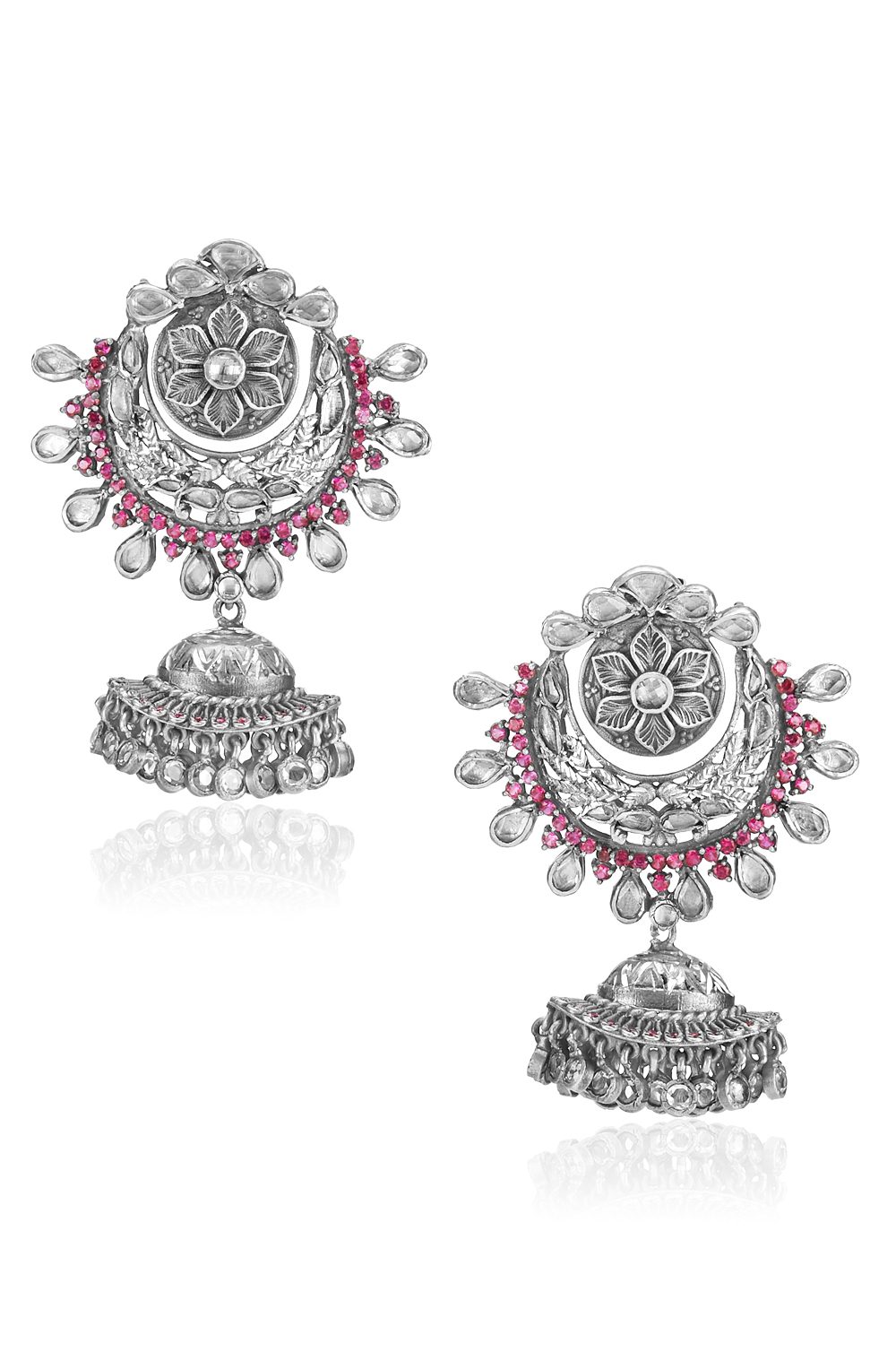 Silver Pink White Glass Floral Moon Jhumki Earrings