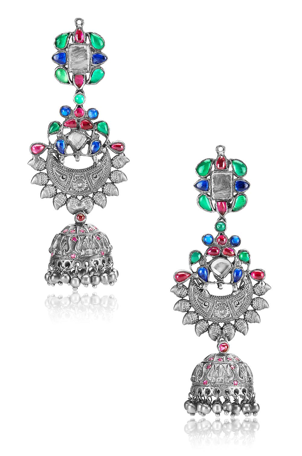 Silver Glass Traditional Motif Jhumki Earrings
