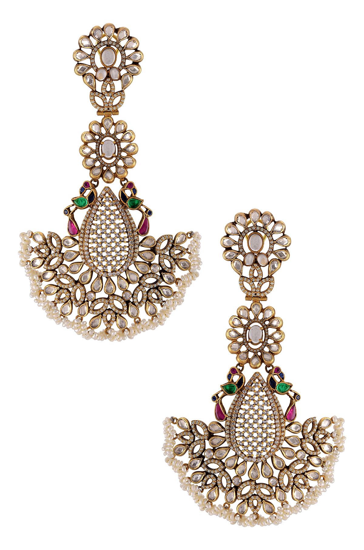 Silver Gold Plated Floral Peacock Glass Pearl Oversized Earrings