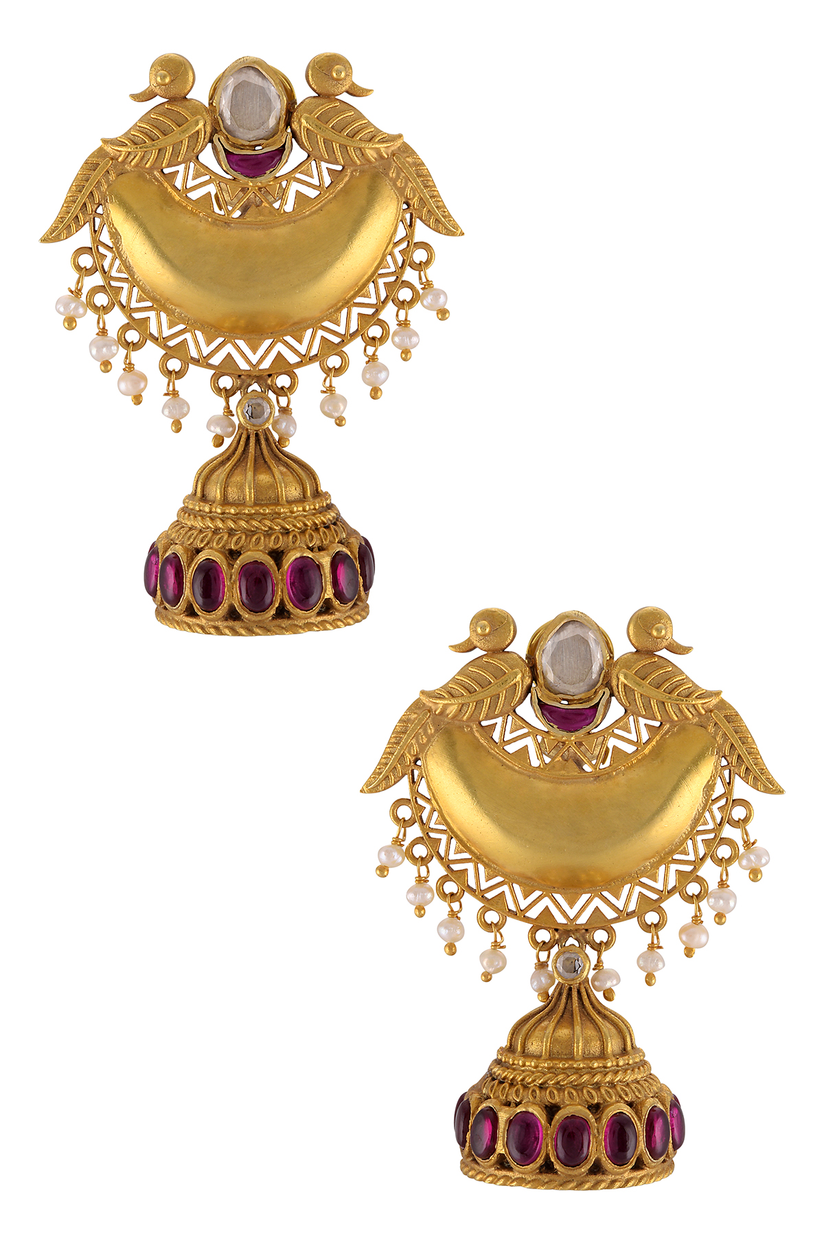 Silver Gold Plated Peacock Jhumki Earrings