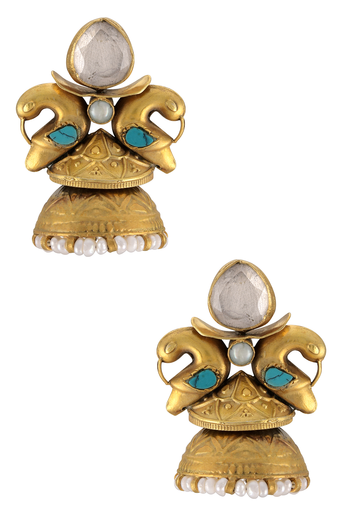 Silver Gold Plated Peacock Dome Earrings