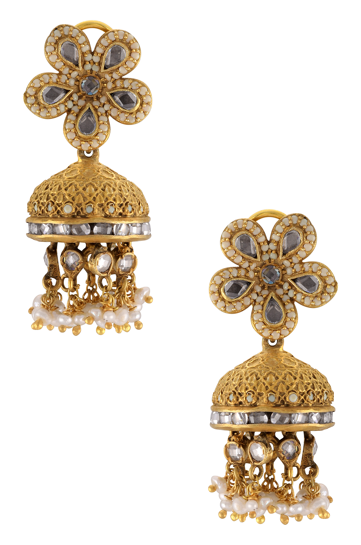 Silver Gold Plated Flower Pearl Cluster Jhumki Earrings