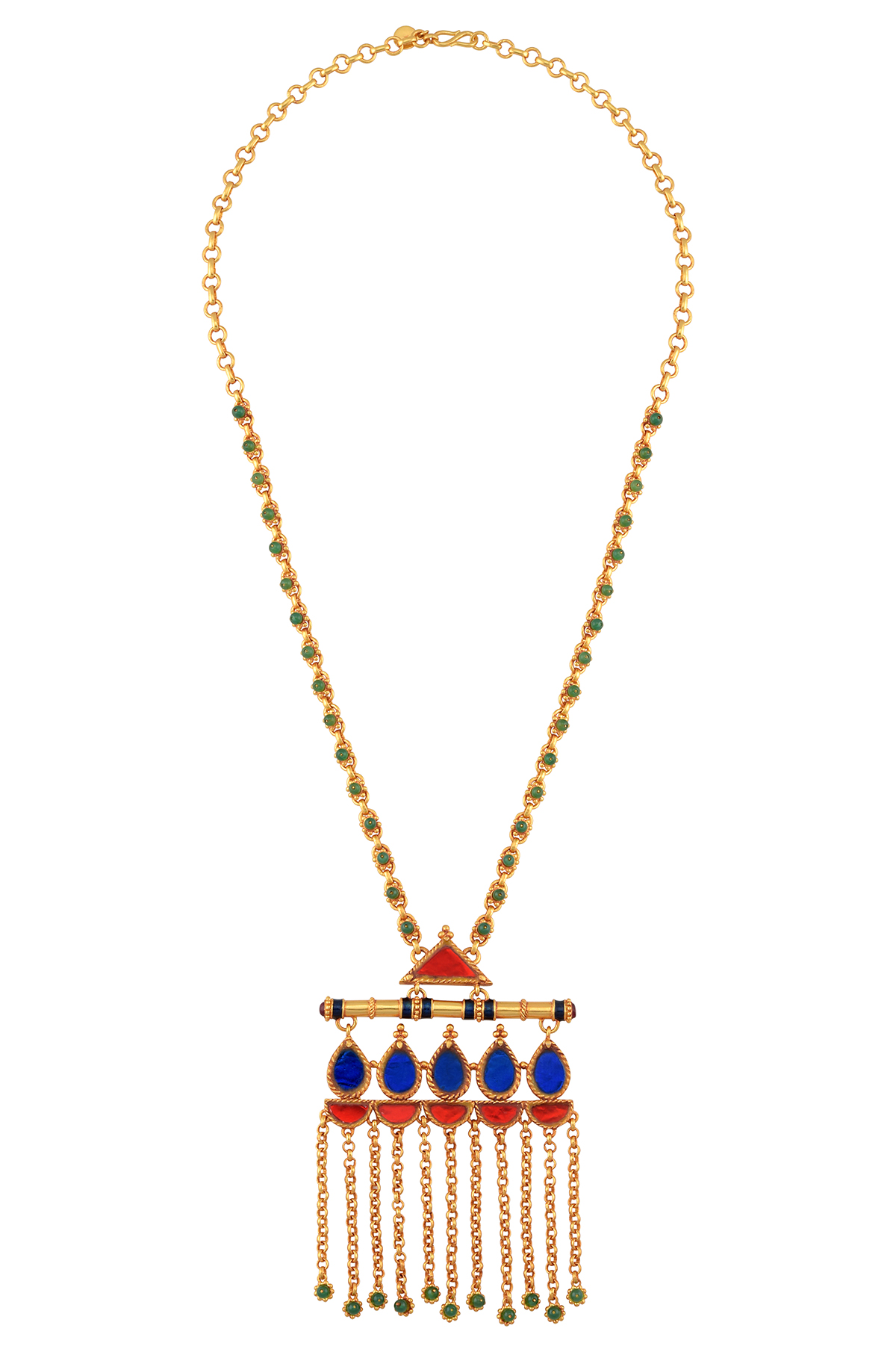 Gold Plated Red Blue Glass Lotus Ball Drop Chain Tassel Pendant
