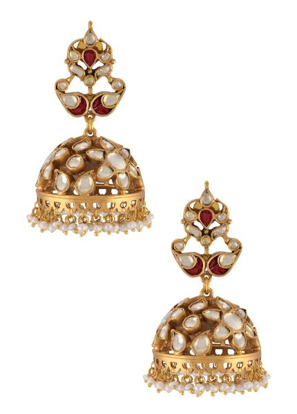 Silver Gold Plated Floral Paisley Motif Pearl Drop Jhumka Earrings