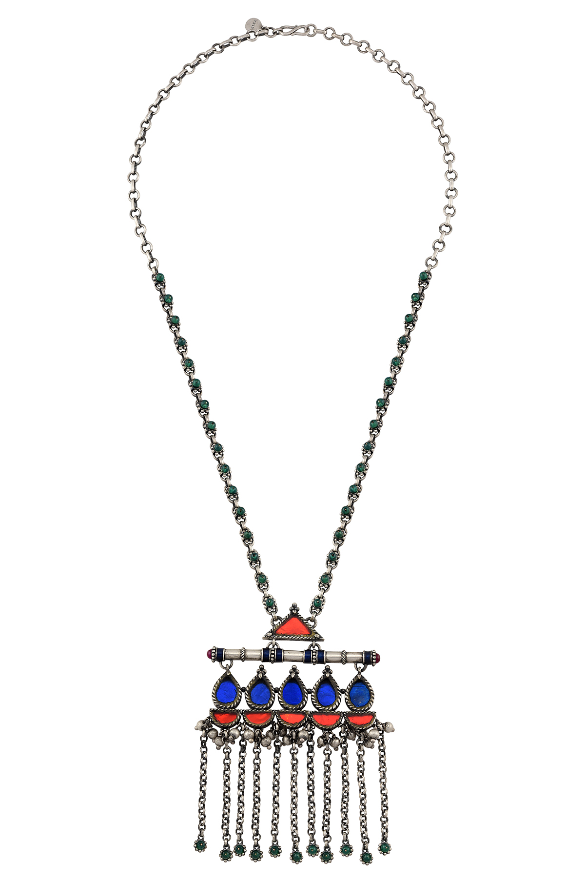 Silver Plated Red Blue Glass Lotus Ball Drop Chain Tassel Pendant