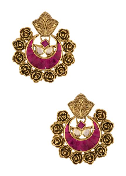Silver Gold Plated Rose Moon Pink Glass Ear Studs