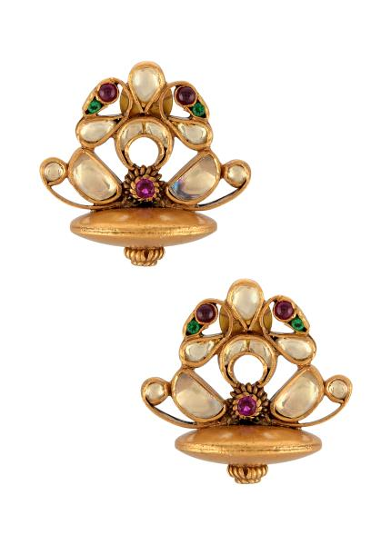 Silver Gold Plated Peacock Lotus Ear Studs