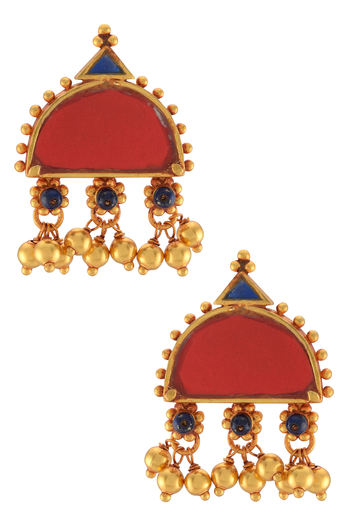 Gold Plated Red Blue Glass Ball Drop Flower Earrings