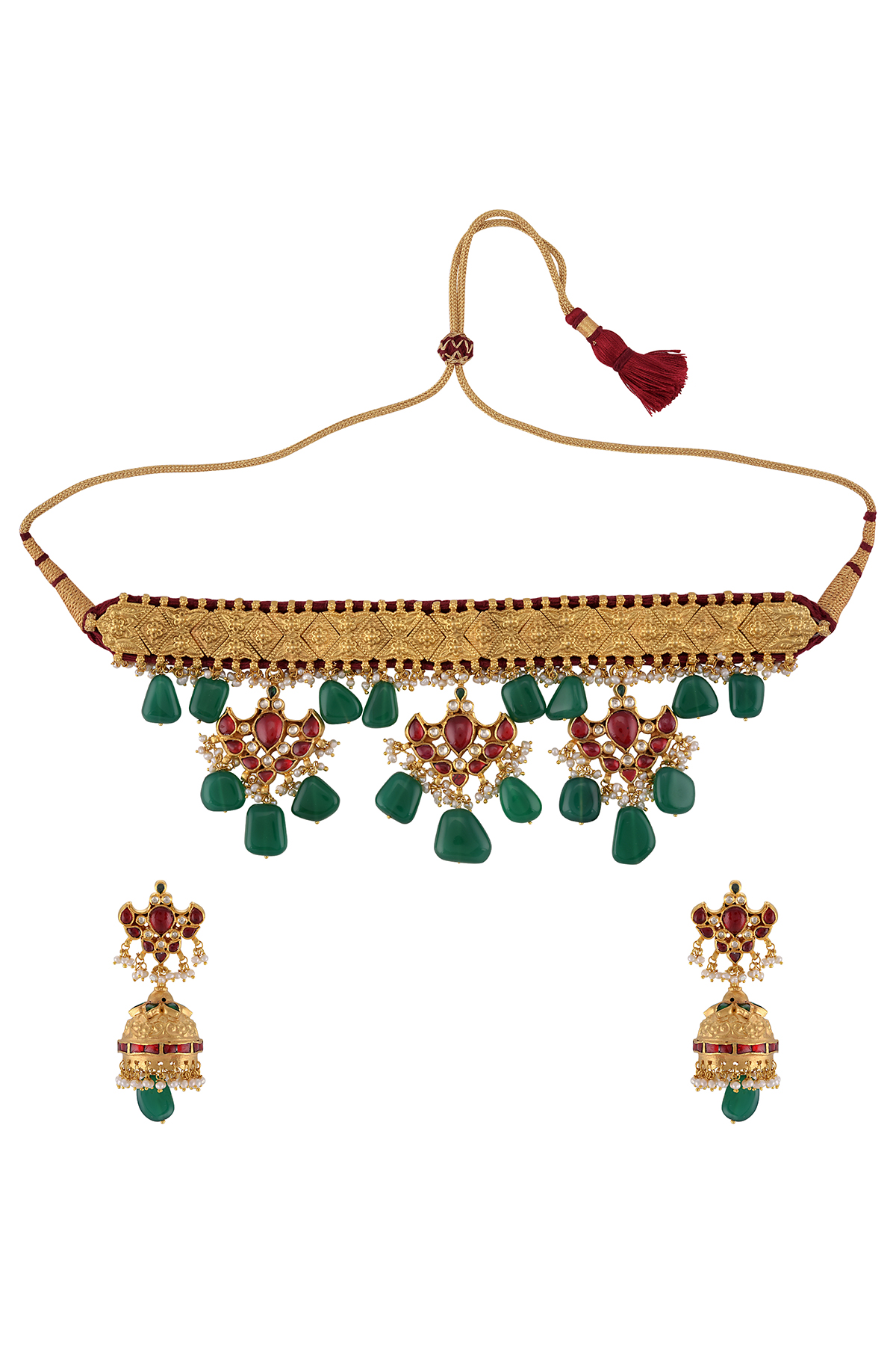 Silver Gold Plated Red Green Glass Thread Necklace Earrings Set