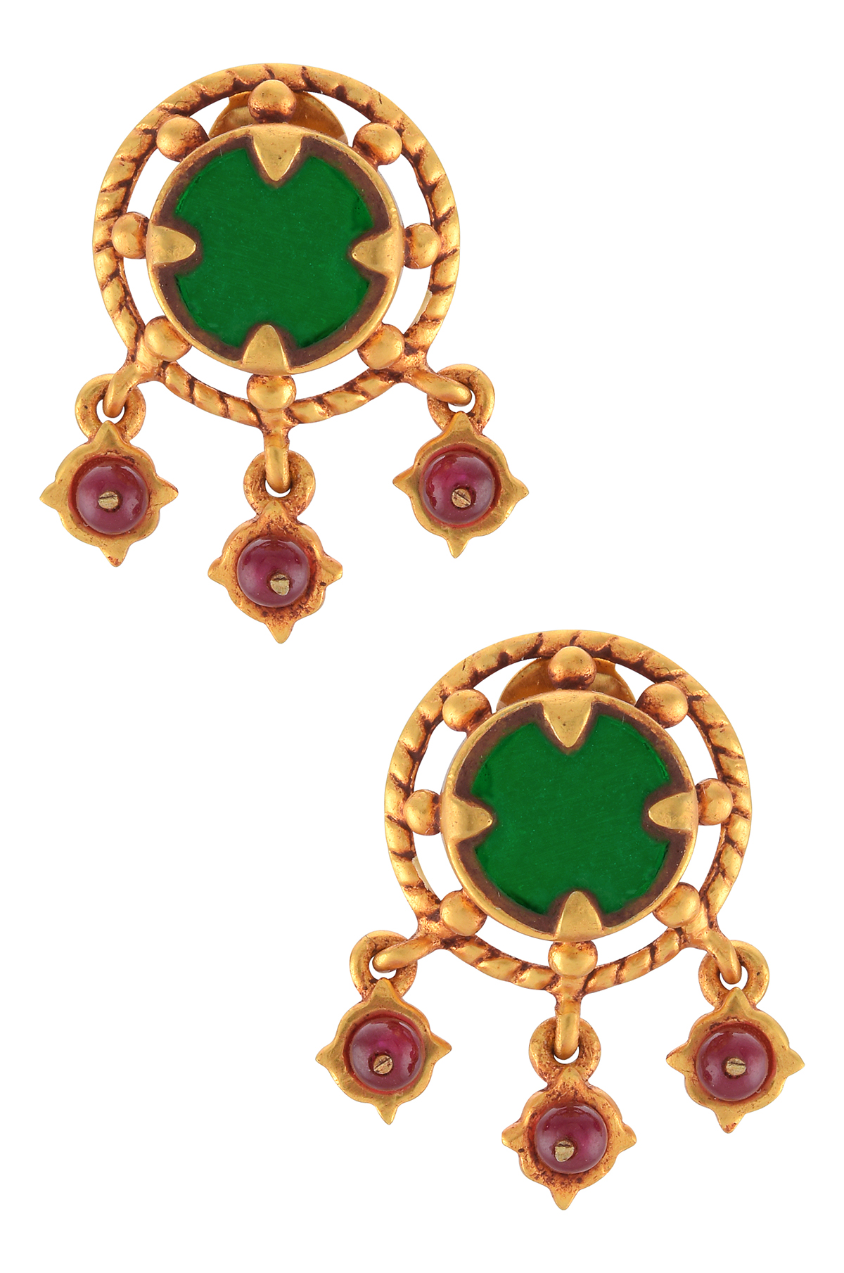 Gold Plated Green Glass Charms Drop Ear Studs