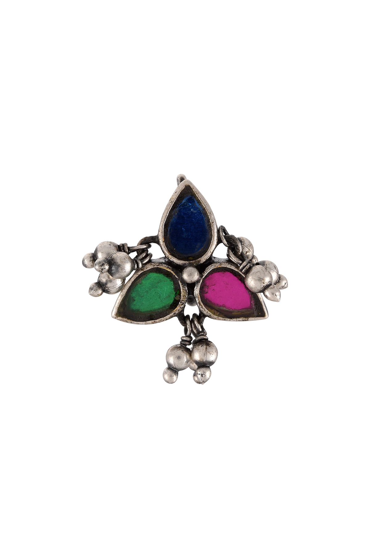 Silver Plated Flower Ball Drop Nose Clip