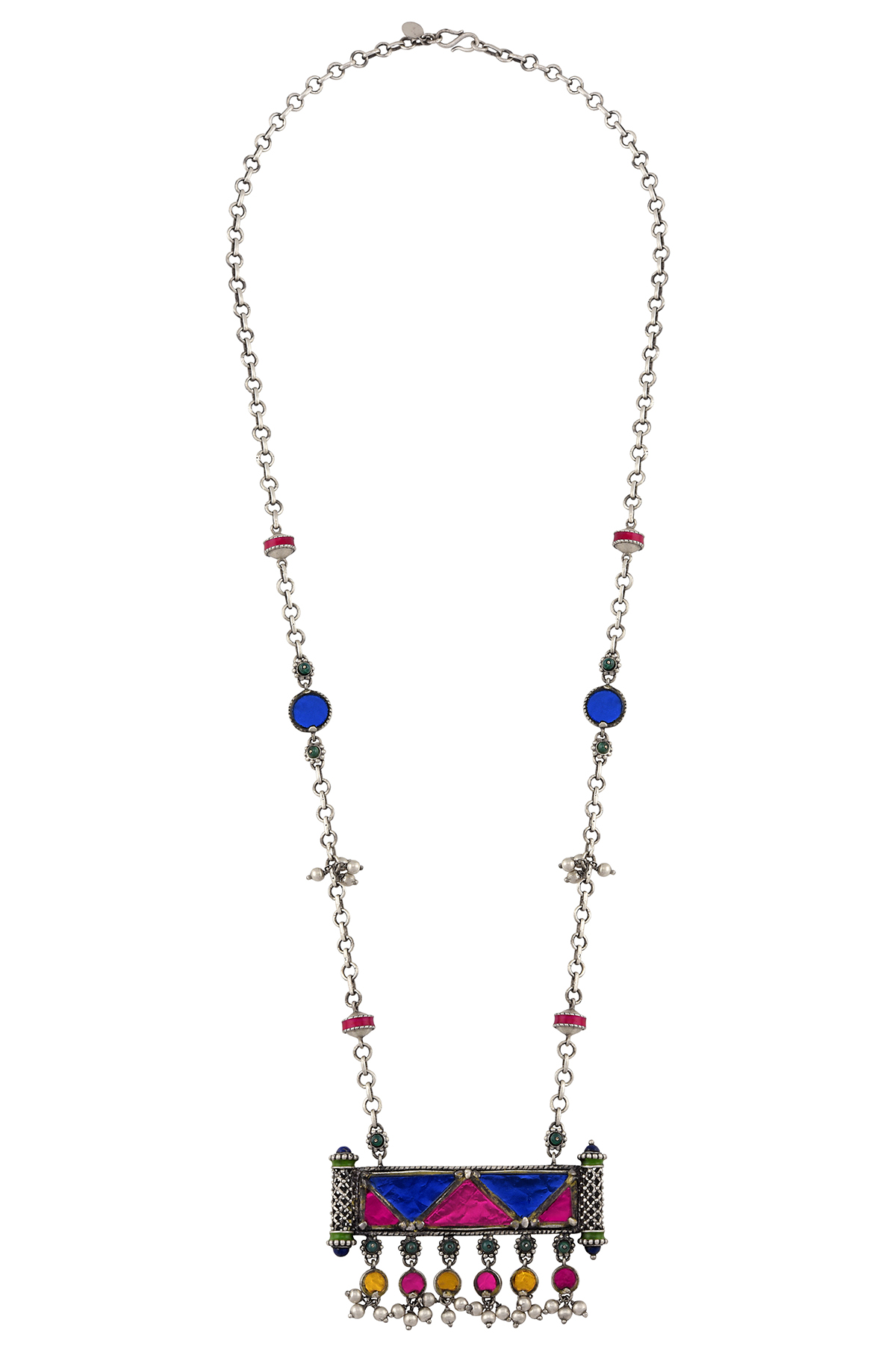 Silver Plated Colored Glass Ball Drop Chain Pendant