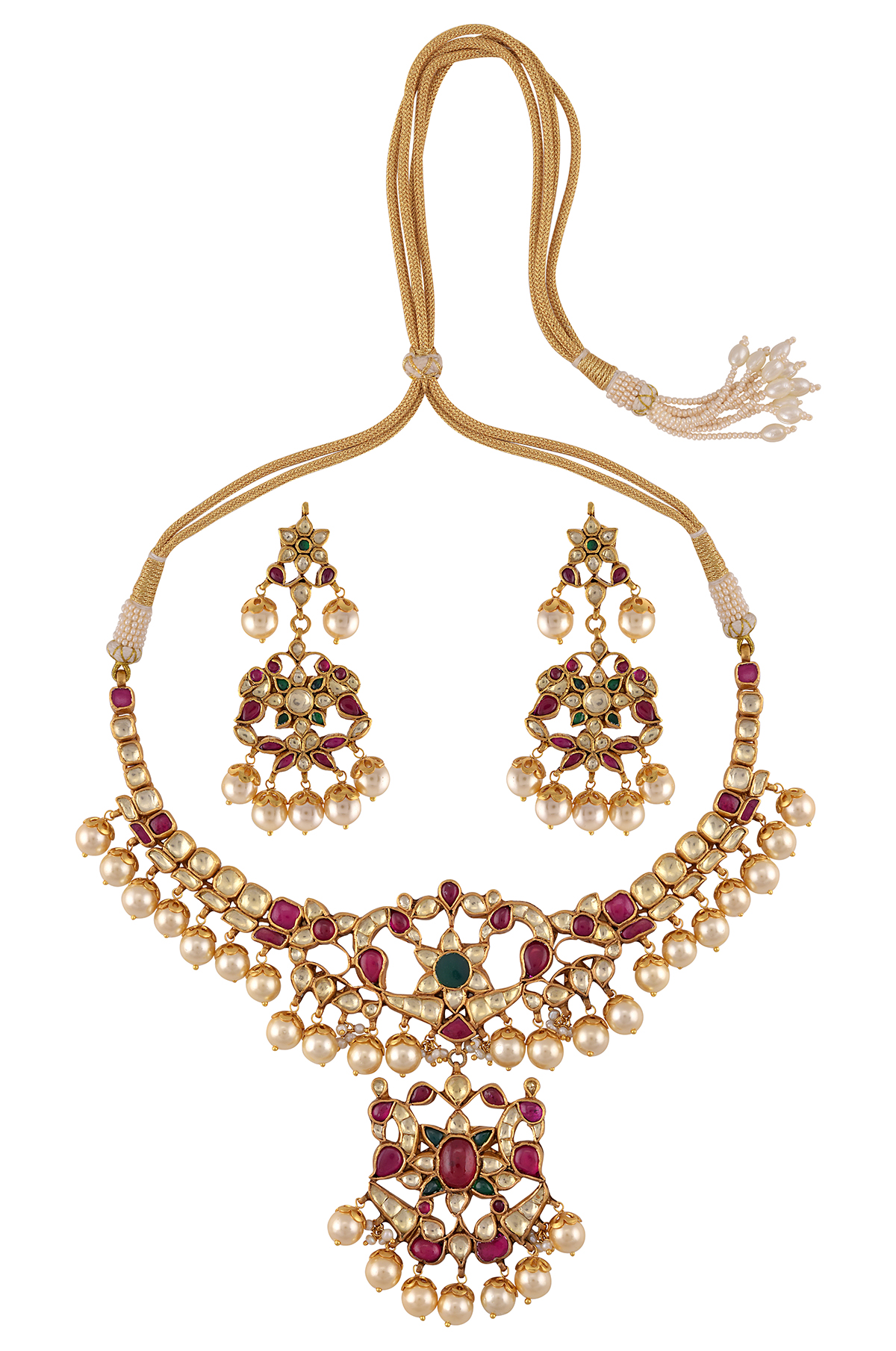 Silver Gold Plated Multi Colored Glass Peacock Pearl Necklace Earrings Set
