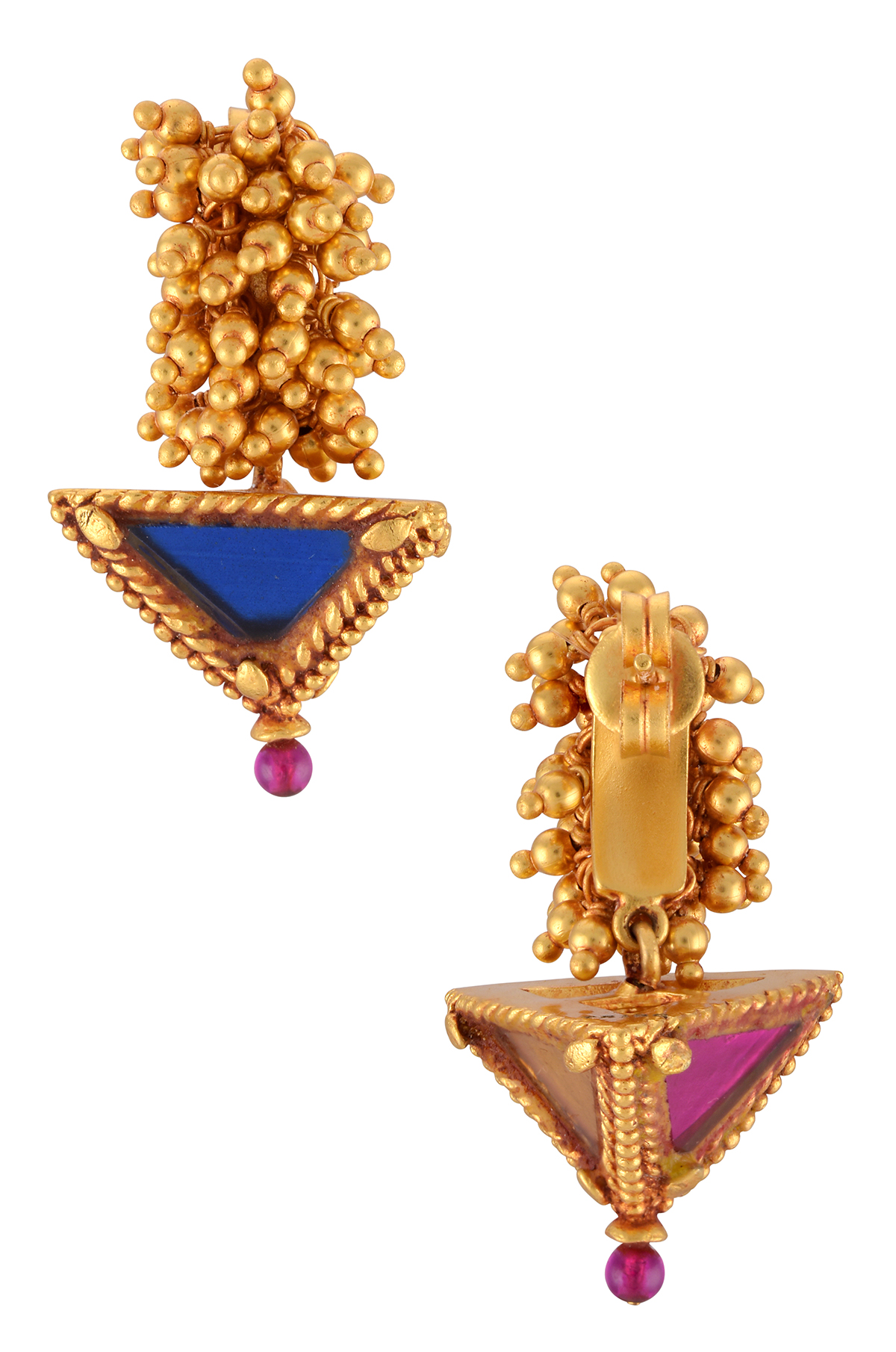 Gold Plated Colored Glass Pyramid Rawa Cluster Earrings