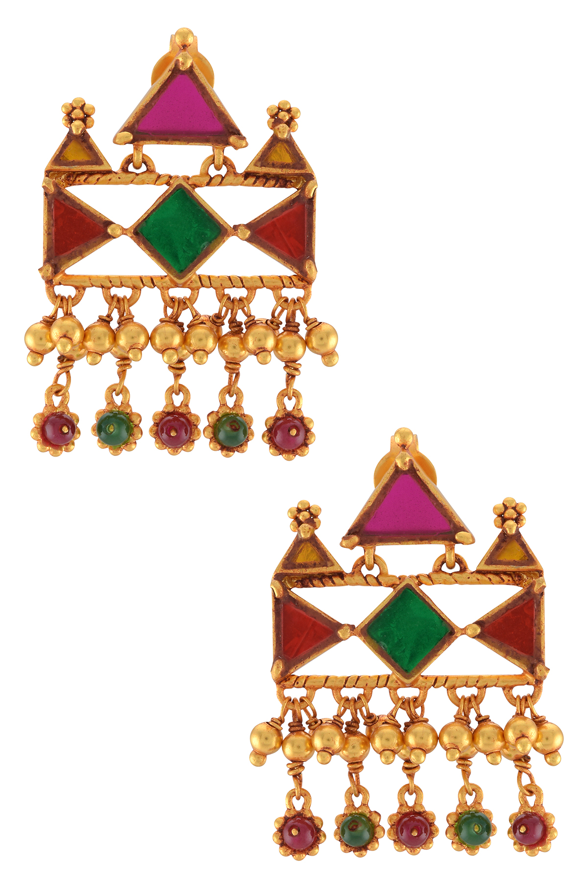 Gold Plated Flower Rawa Charms Drop Colored Glass Earrings