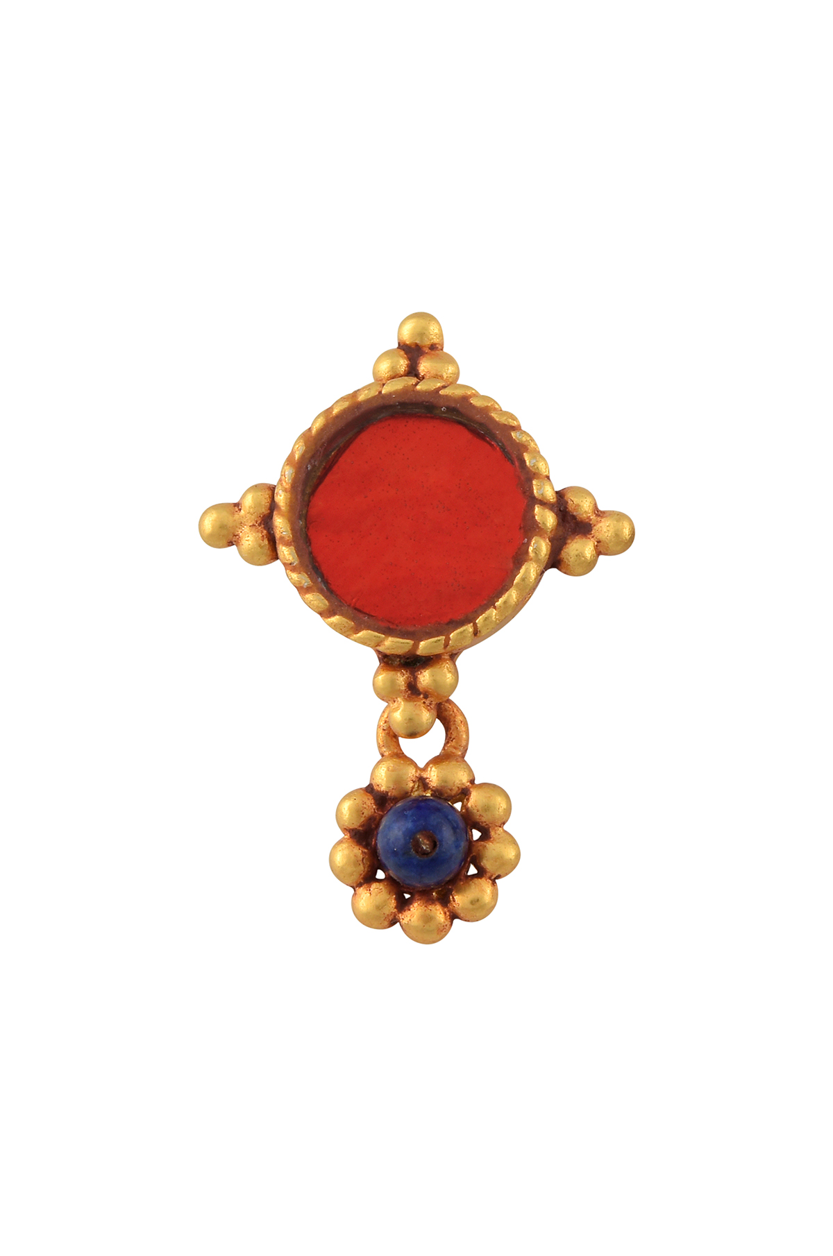 Gold Plated Red Glass Rawa Nose Clip