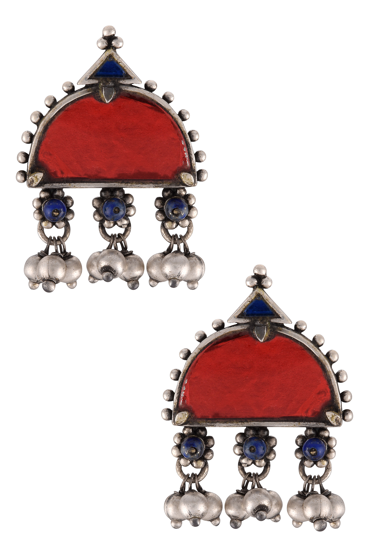 Silver Plated Red Blue Glass Ball Drop Flower Earrings