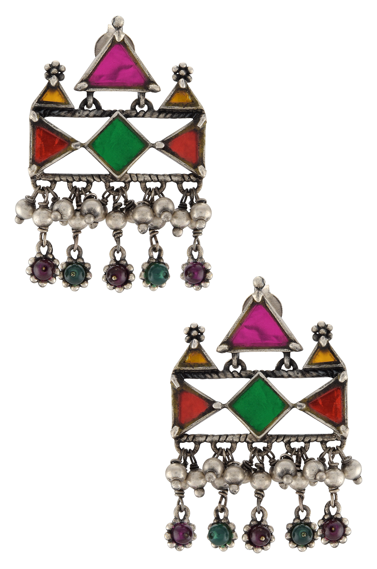 Silver Plated Flower Rawa Charms Drop Colored Glass Earrings