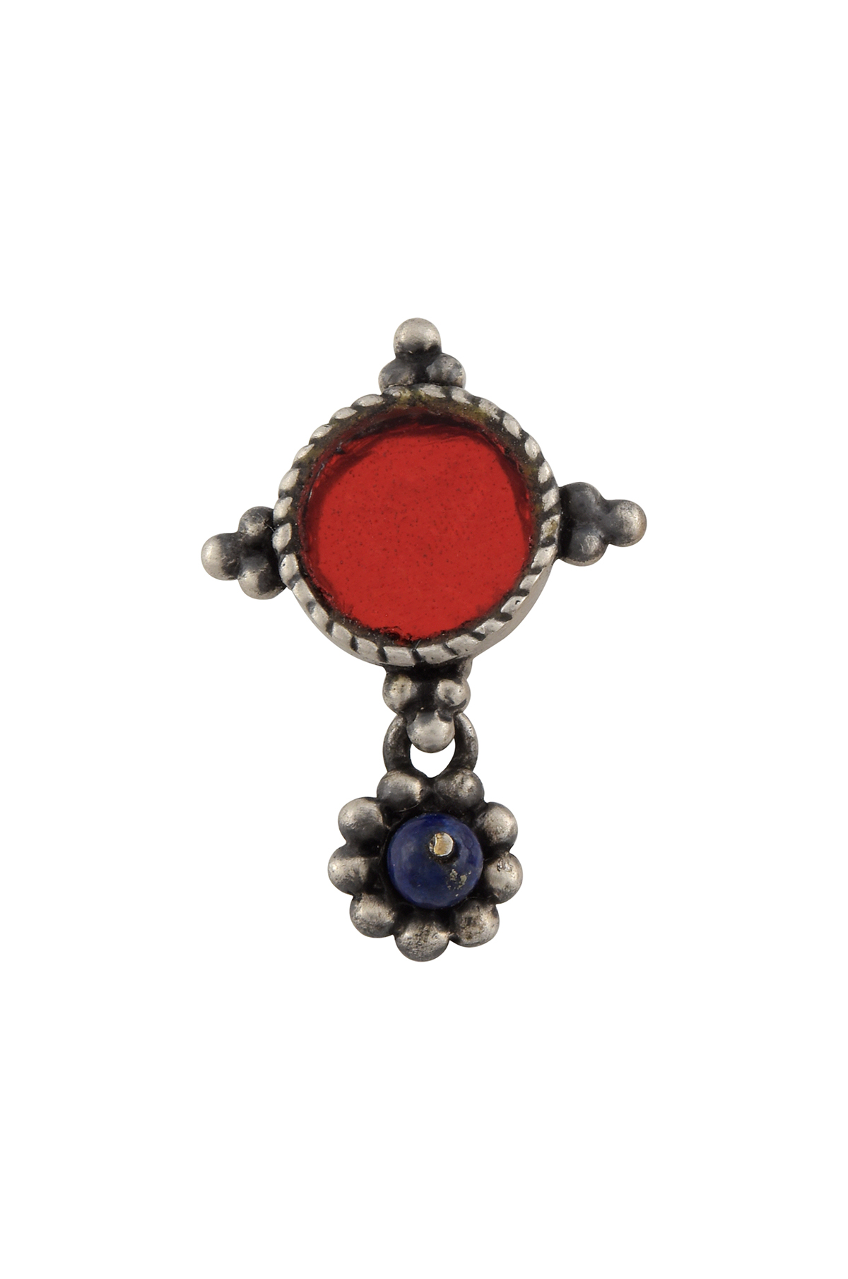 Silver Plated Red Glass Rawa Nose Clip