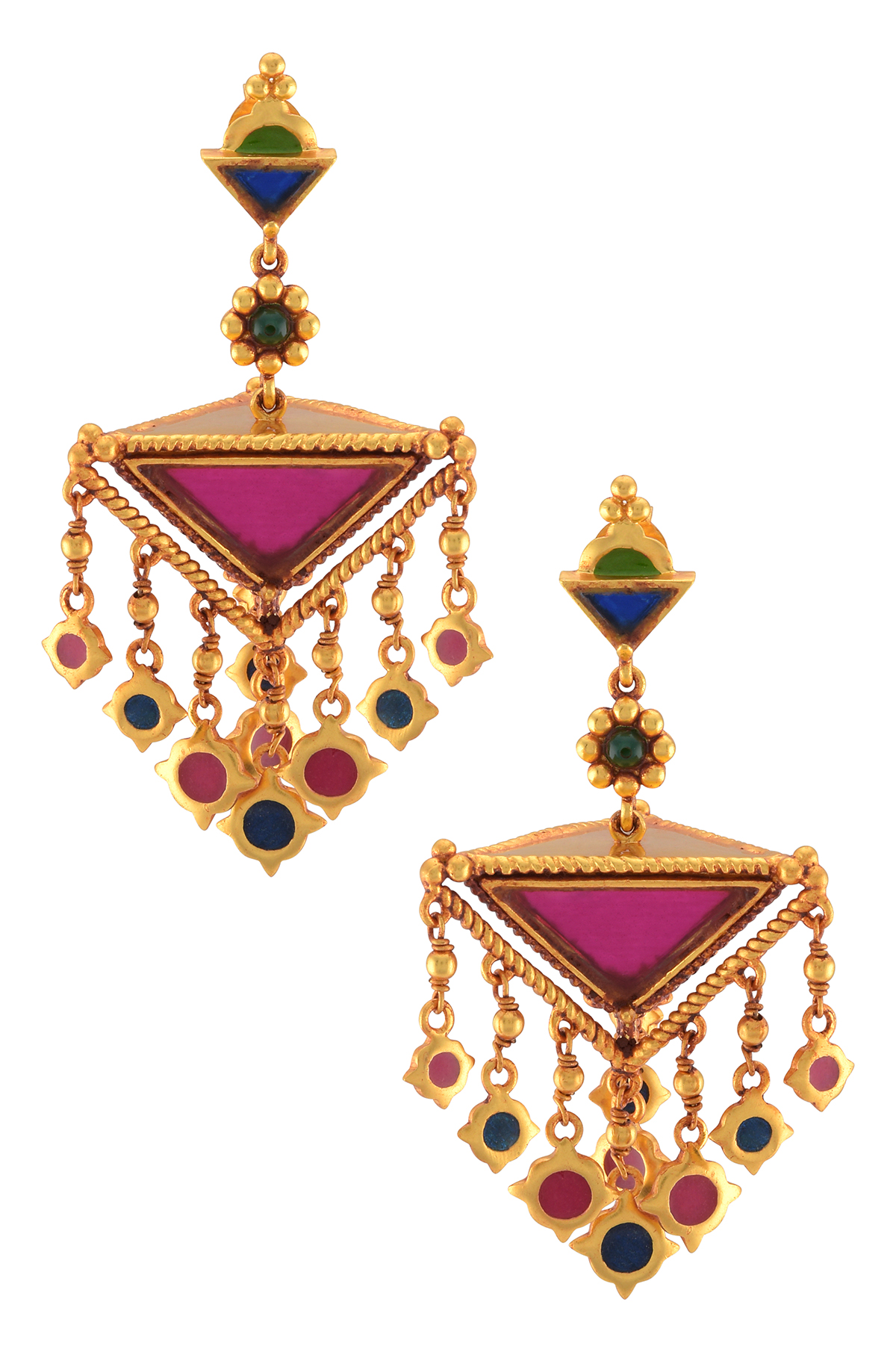 Gold Plated Colored Glass Pyramid Enamelled Charms Drop Earrings