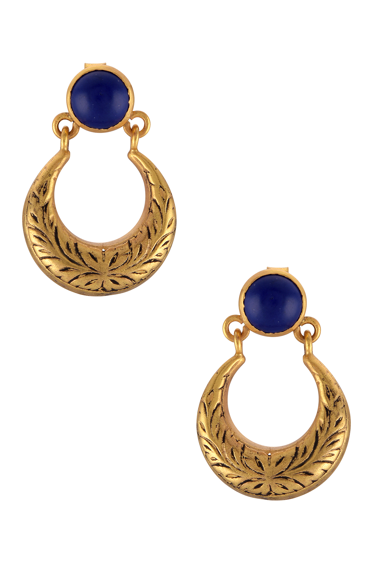 Silver Gold Plated Lapis Glass Moon Textured Ear Studs