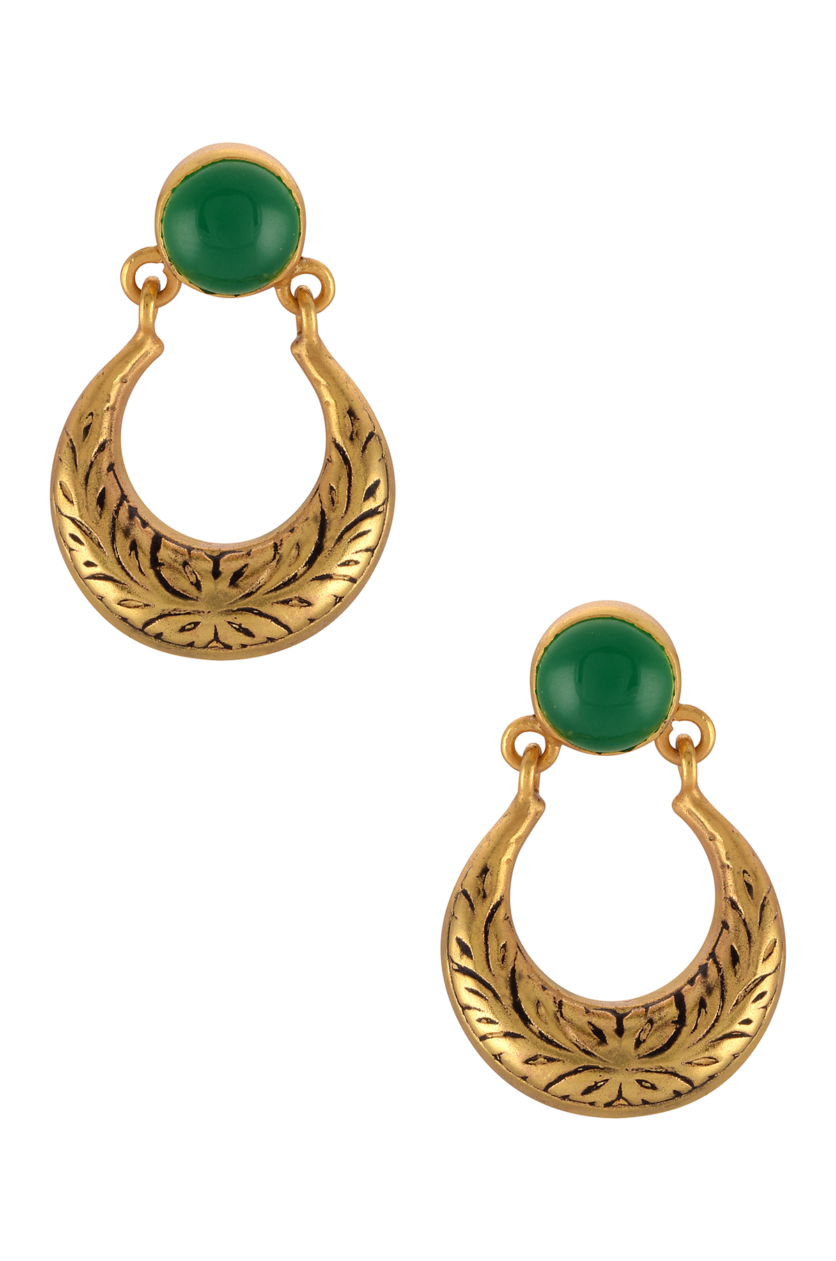 Silver Gold Plated Green Glass Moon Textured Ear Studs