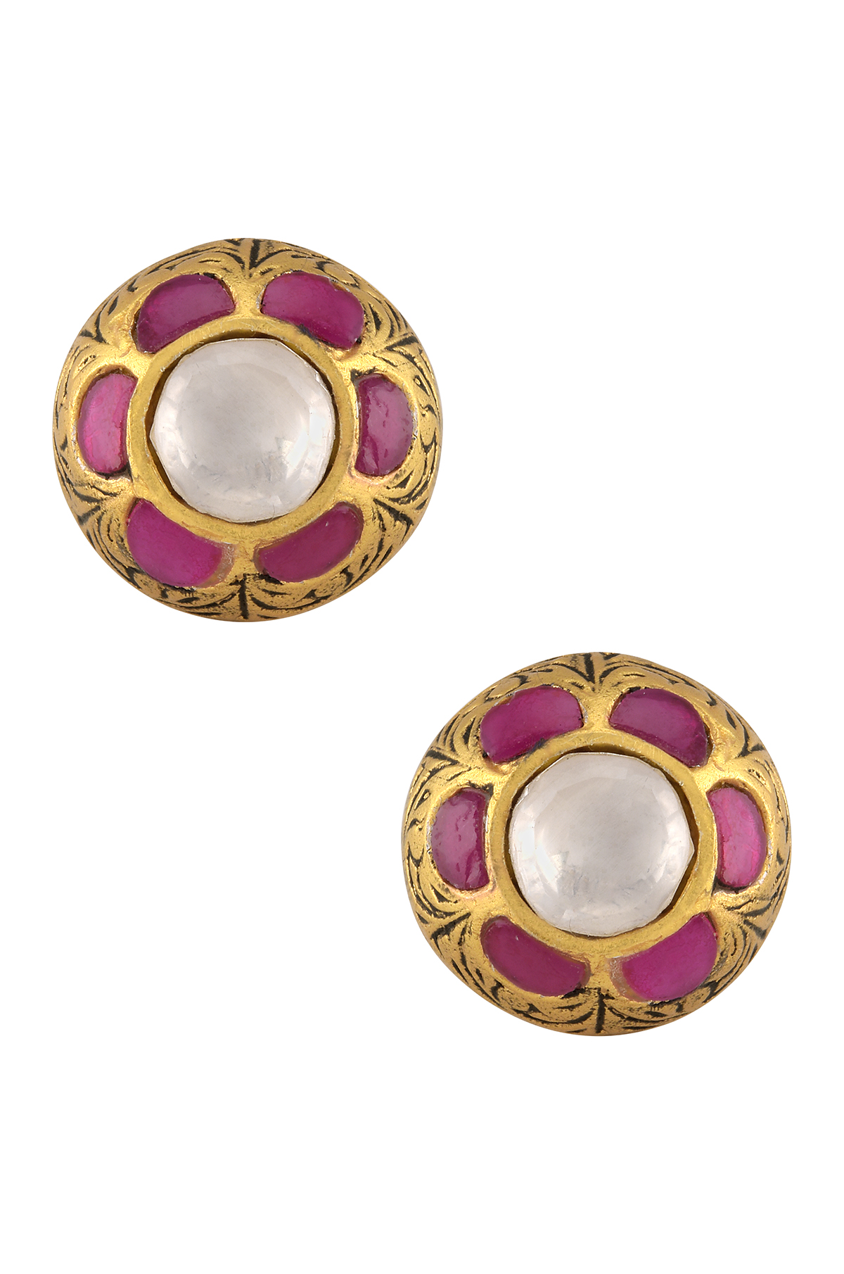 Silver Gold Plated Flower Ear Studs