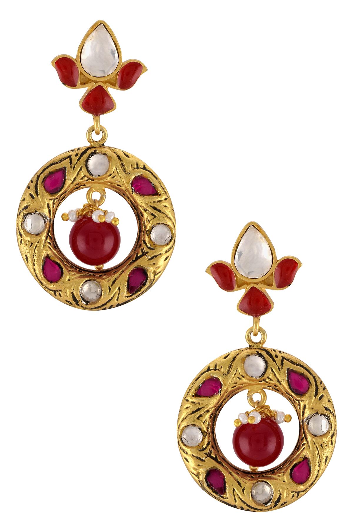 Silver Gold Plated Lotus Jadau Earrings