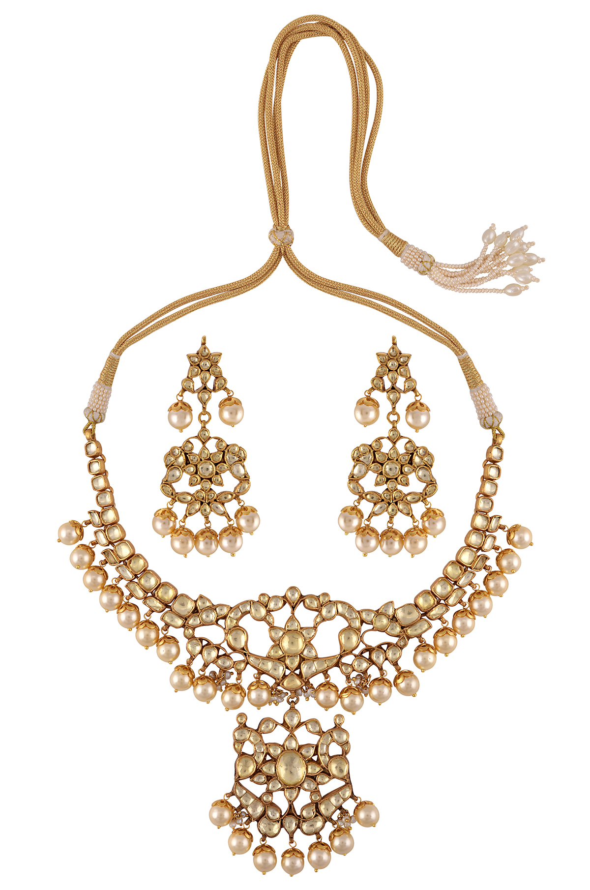 Silver Gold Plated White Glass Peacock Pearl Necklace Earrings Set