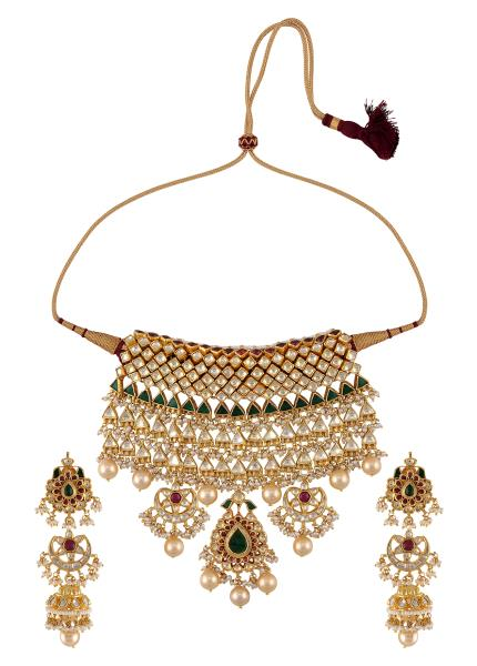 Silver Gold Plated Triangle Square Floral Jadau Necklace Earrings Set