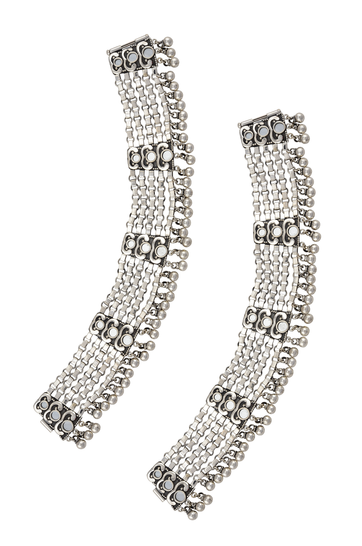 Silver Oxidised Ball Drop Mirror Anklets