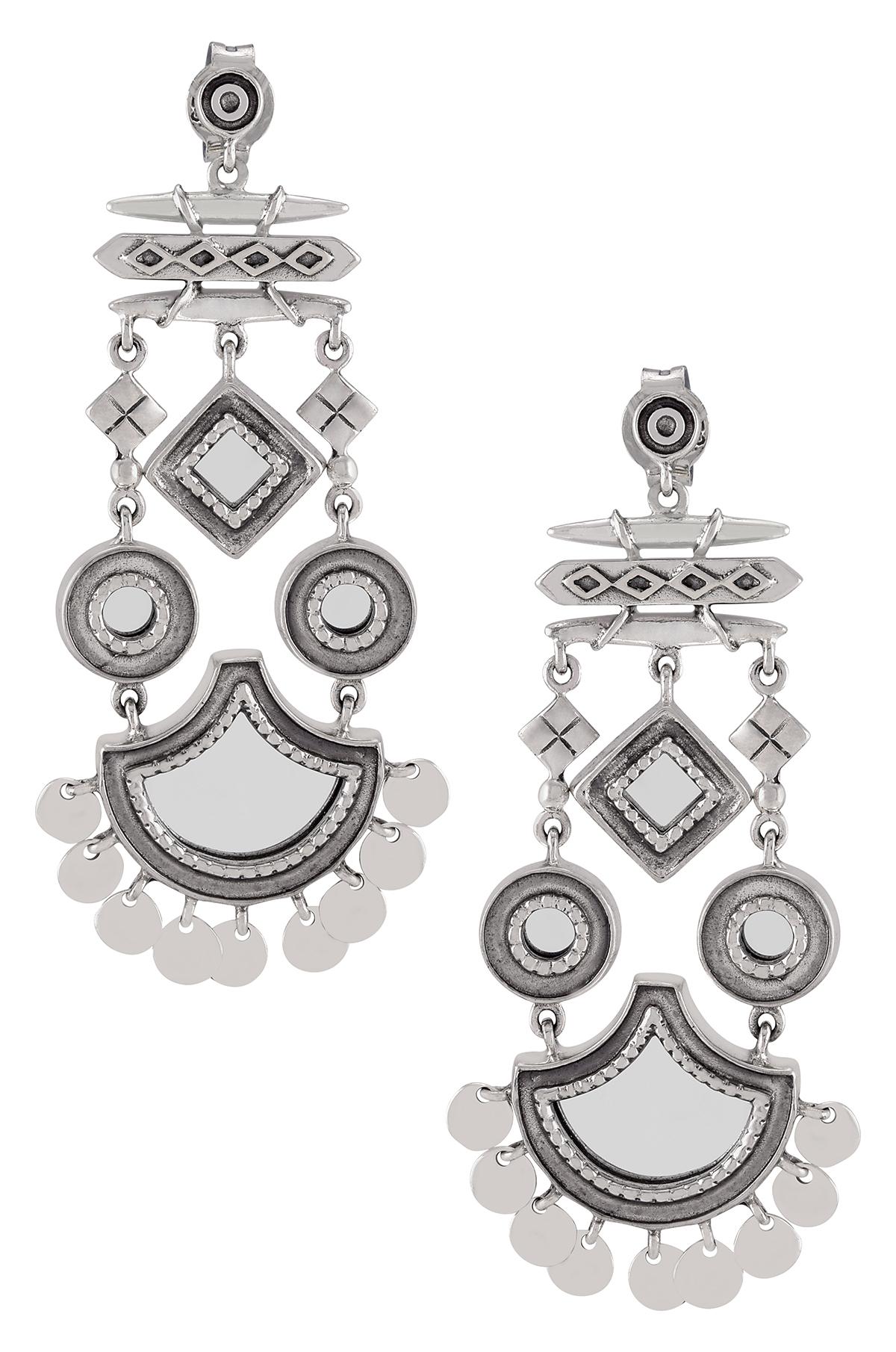 Silver Disc Drop Mirror Earrings