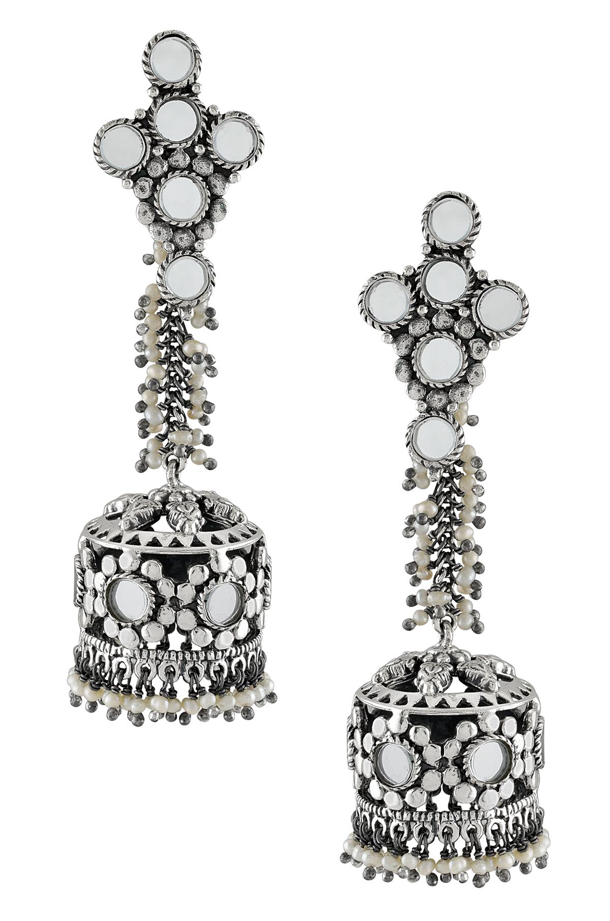 Silver Floral  Mirror Pearl Cluster Jhumki Earrings