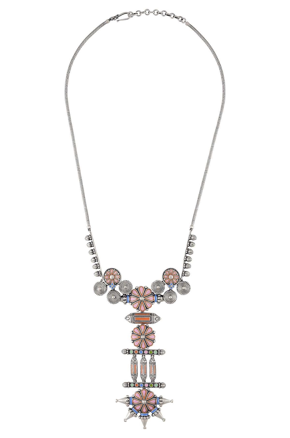 Pink Flower Coin Taveez Necklace